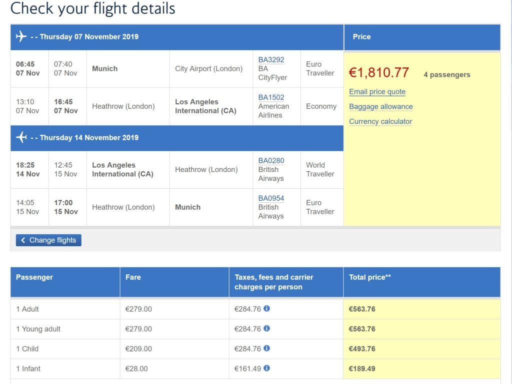 Gesamtkosten transkontinentaler Flug - British Airways