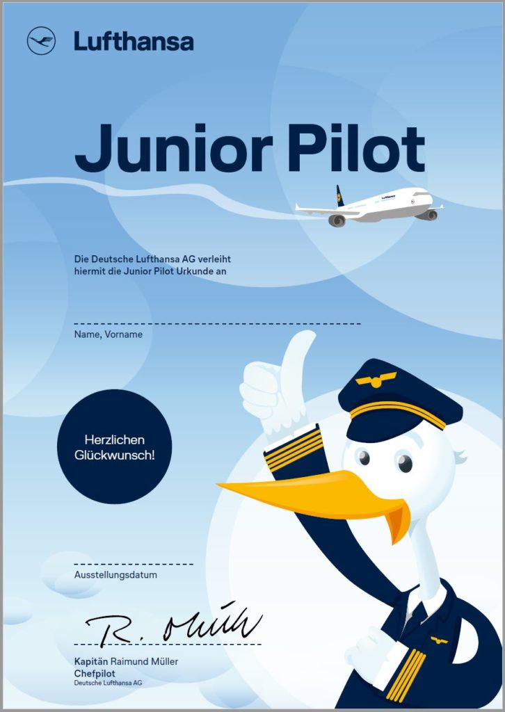 Lufthansa Junior Pilot Urkunde