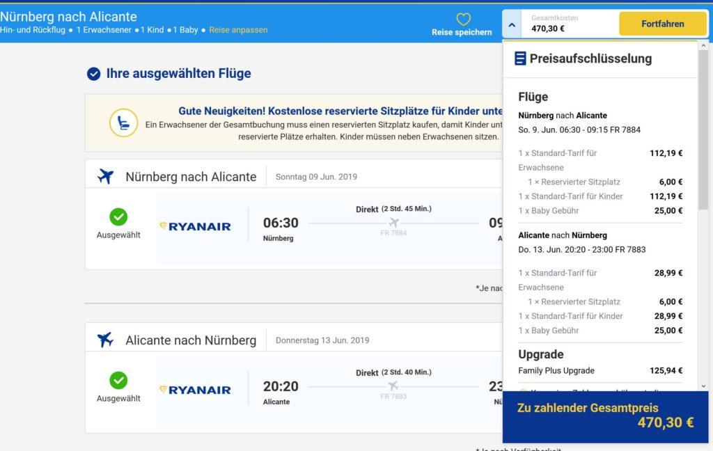 Ryanair: Baby €25 pro Strecke, Kind 100% vom Erwachsenen-Flugpreis