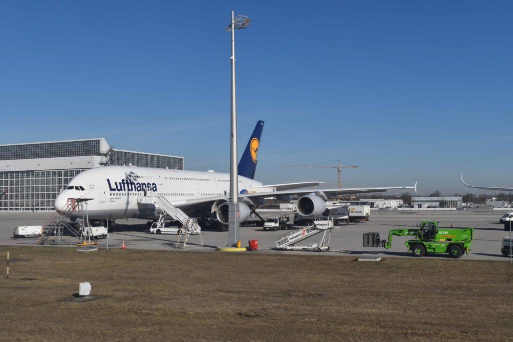 Airbus A380 am Flughafen München