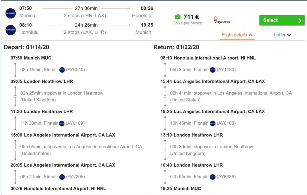 idealo Flugsuche: München - Honululu für 711 Euro