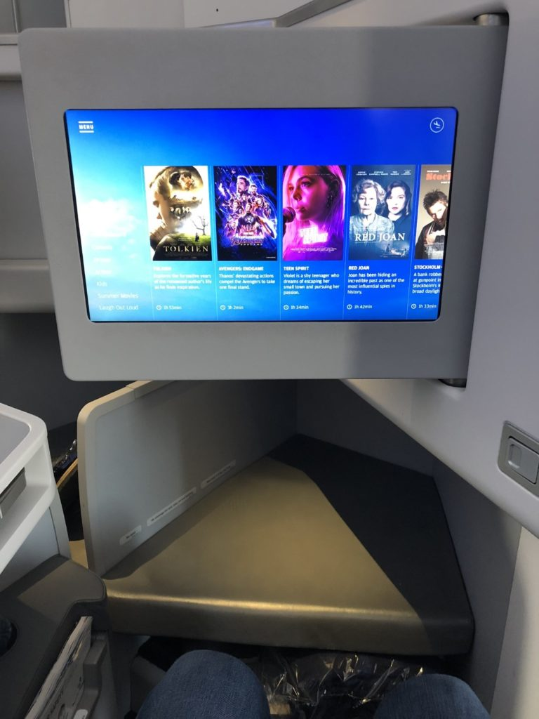 Finnair Business Class Airbus A350 Entertainment Screen.