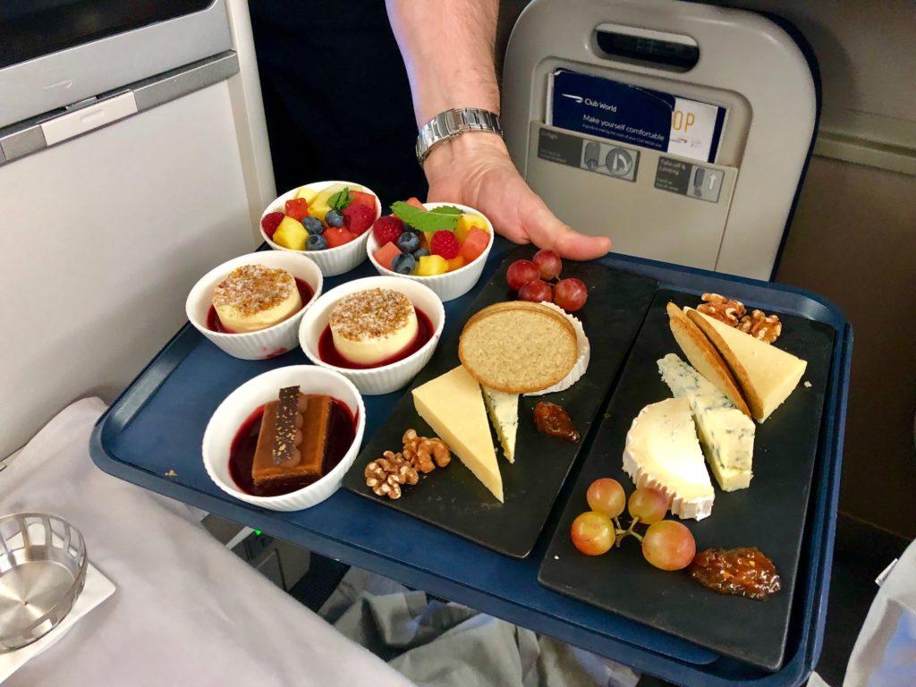 British Airways Club World - Business Class Dessert oder Käseauswahl