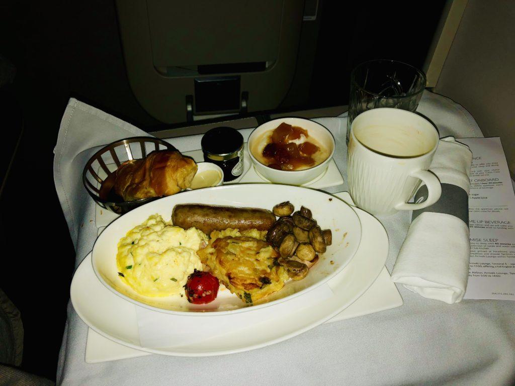 British Airways Club World - Business Class - Full English Breakfast
