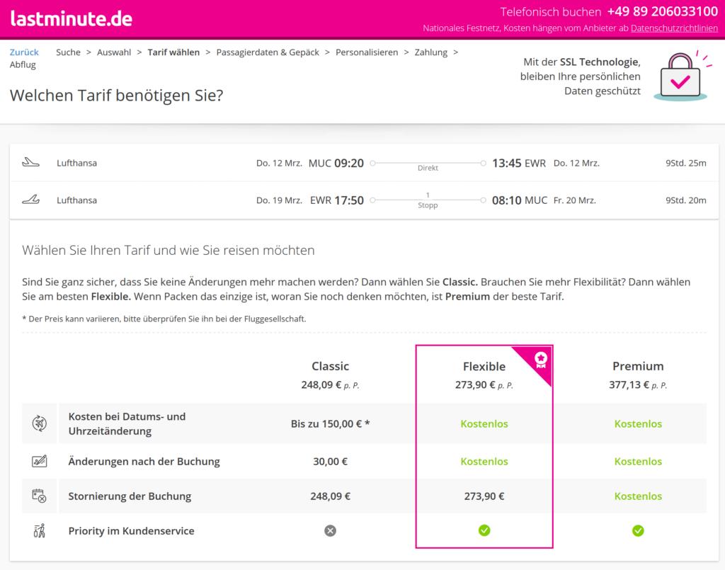 Buchung bei lastminute.de