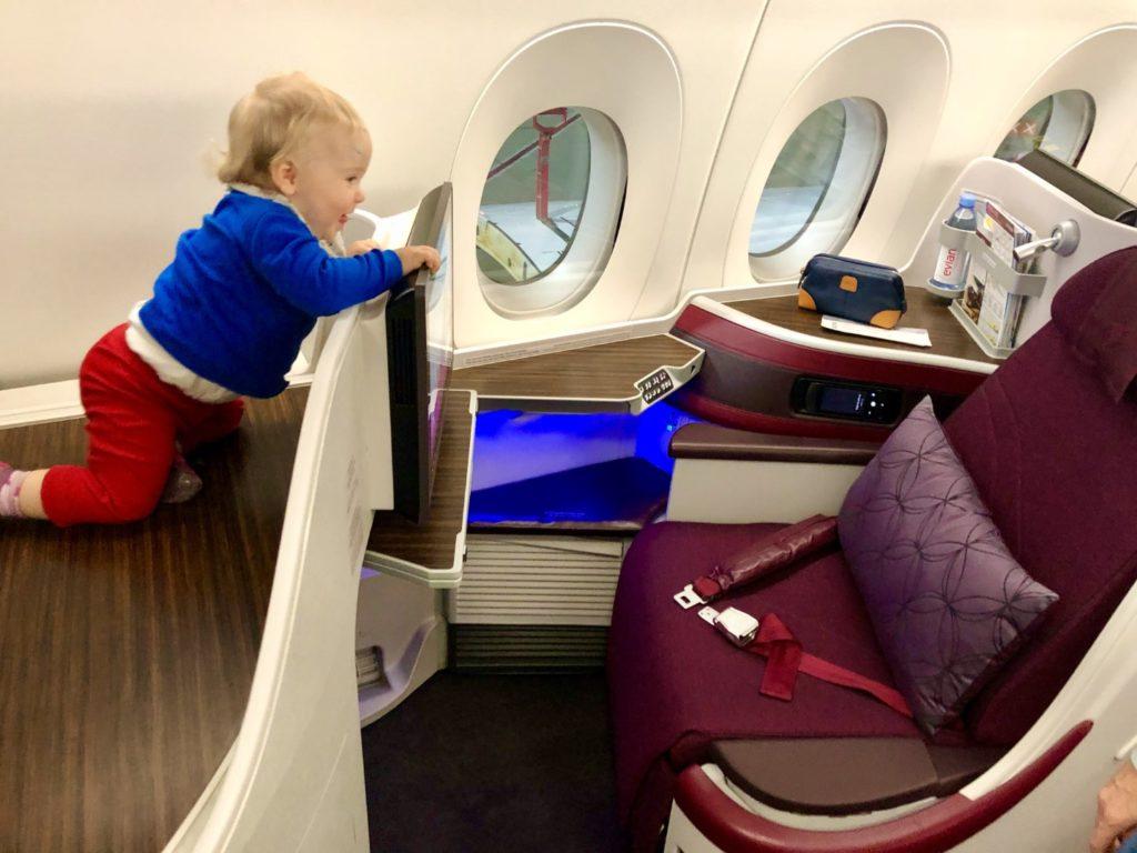 Toller Business Class Sitz 1K mit Platz für ein Baby Bassinet im Airbus A350-900
