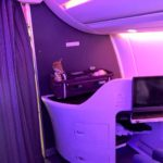 Qatar Airbus A350 Business Class und Baby Bassinet