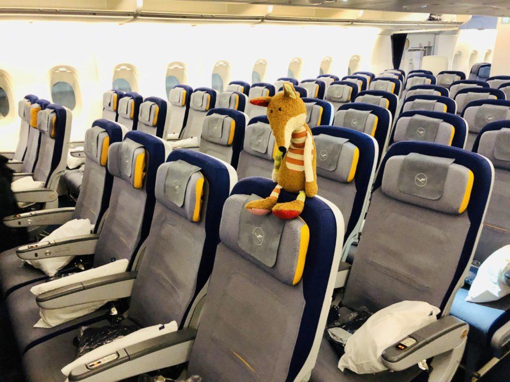 Sitzreihen in der Lufthansa Airbus A380 Economy Class