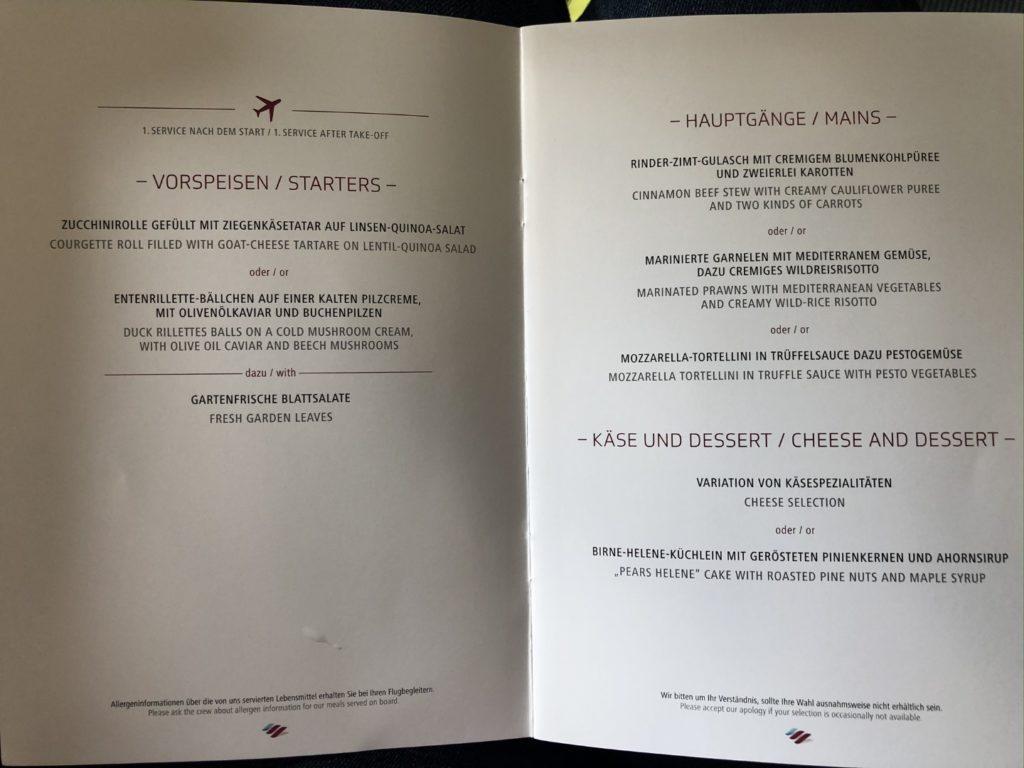 Tolles Menu-Angebot in der Eurowings Business Class Langstrecke