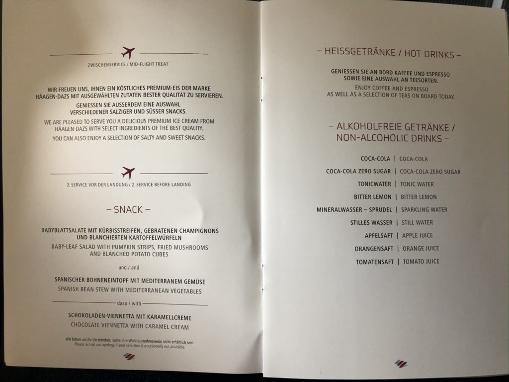 Tolles Menu-Angebot in der Eurowings Business Class Langstrecke