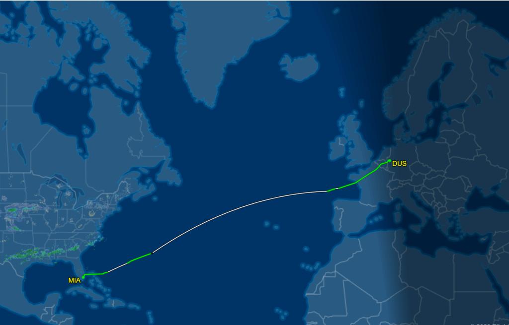 Flug Route EW 1184 von Düsseldorf nach Miami im Airbus A330-300